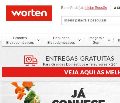 O topo direito do site Português que utiliza apenas o vermelho