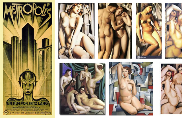 à esquerda o cartaz de Metropolis e à direita exemplos de obras de Lempicka